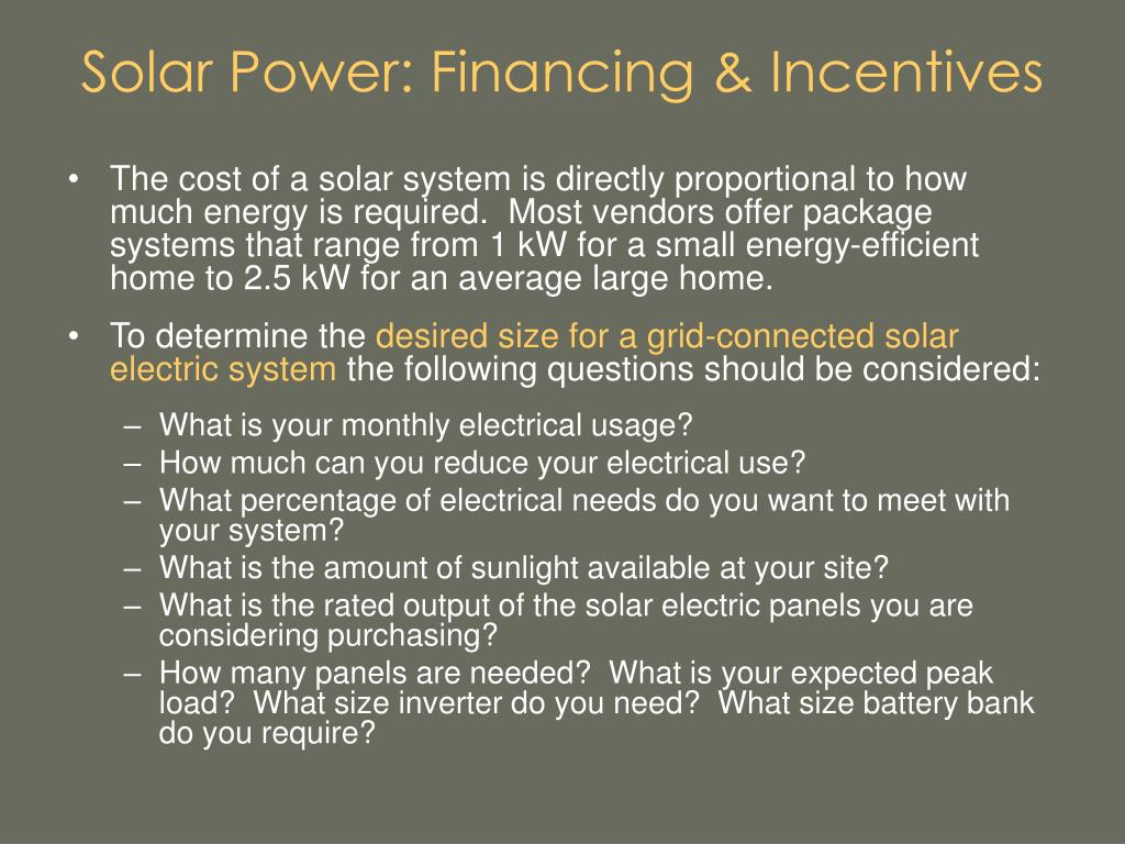Solar Power: Financing & Incentives