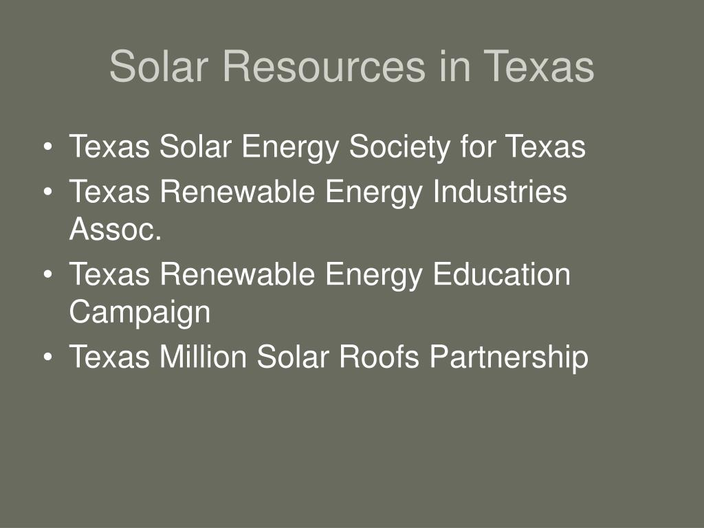 Solar Resources in Texas