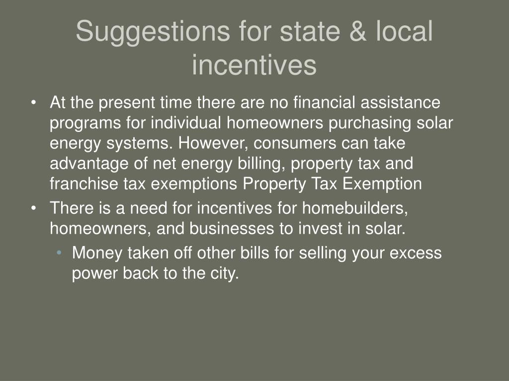 Suggestions for state & local incentives