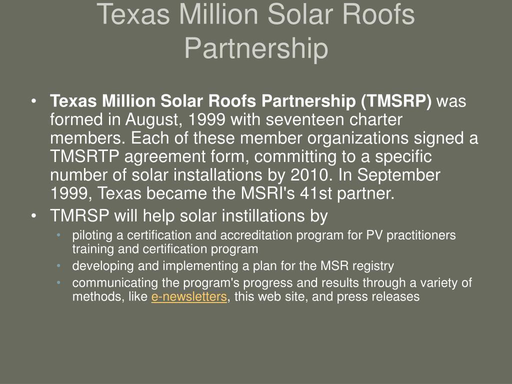 Texas Million Solar Roofs Partnership