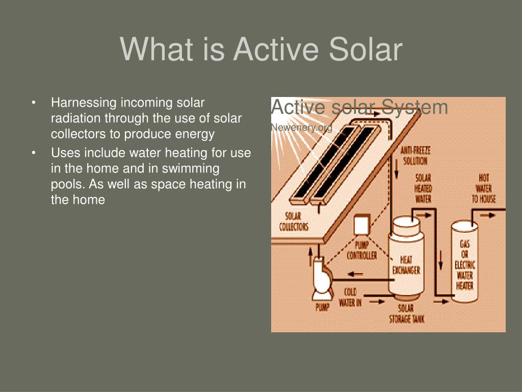 Harnessing incoming solar radiation through the use of solar collectors to produce energy
