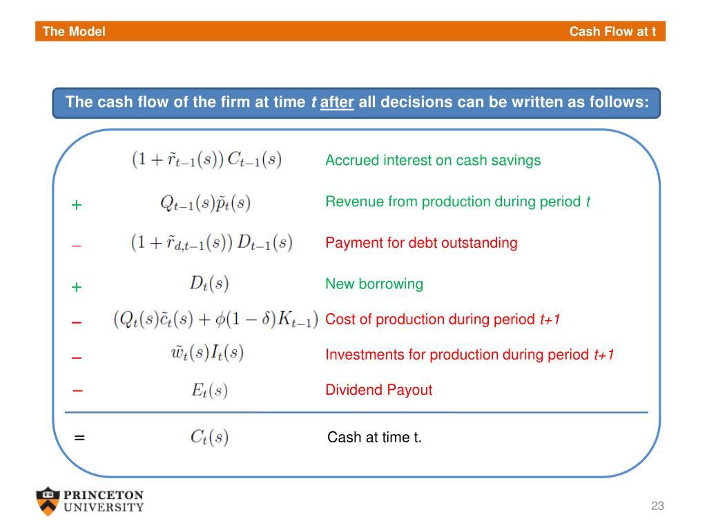 The Model             Cash Flow at t
