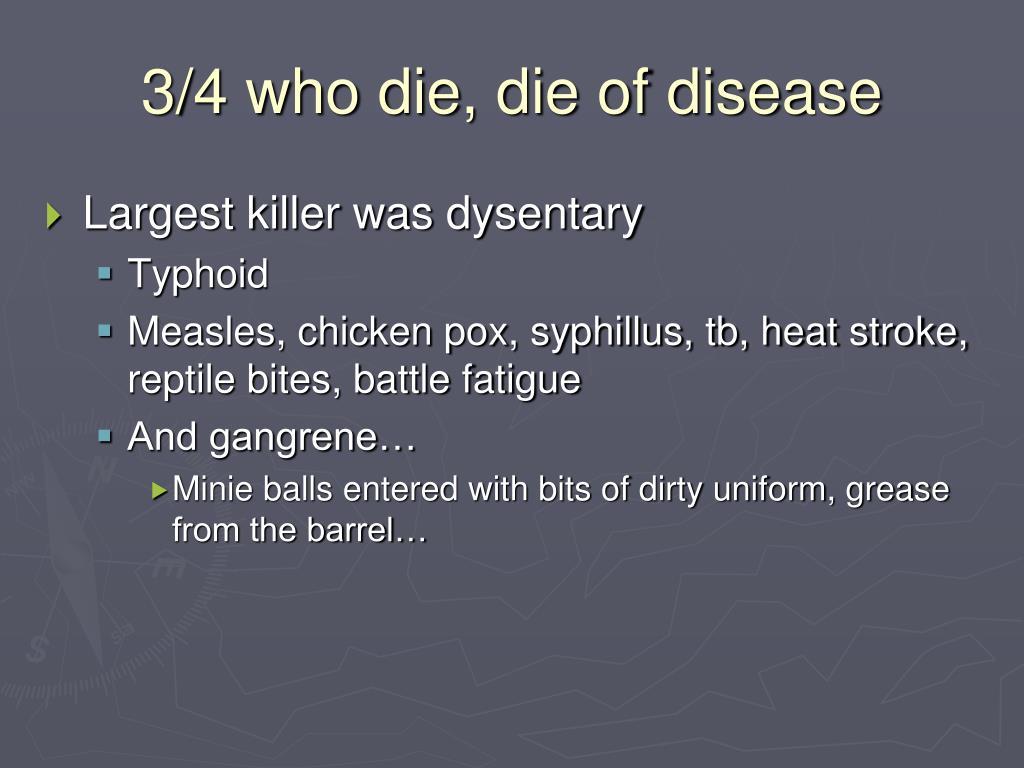 3/4 who die, die of disease