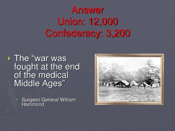 Answer union 12 000 confederacy 3 200