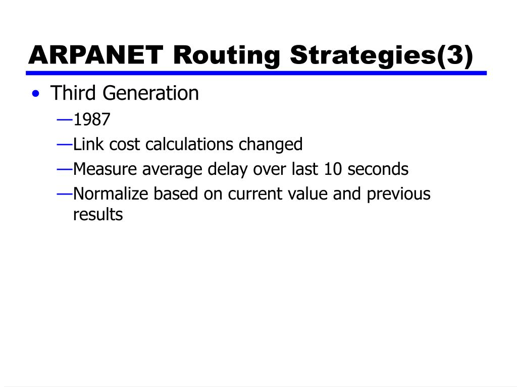 ARPANET Routing Strategies(3)