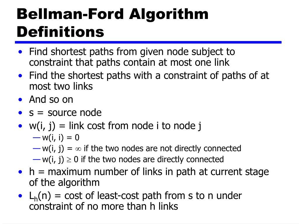 Bellman-Ford Algorithm Definitions
