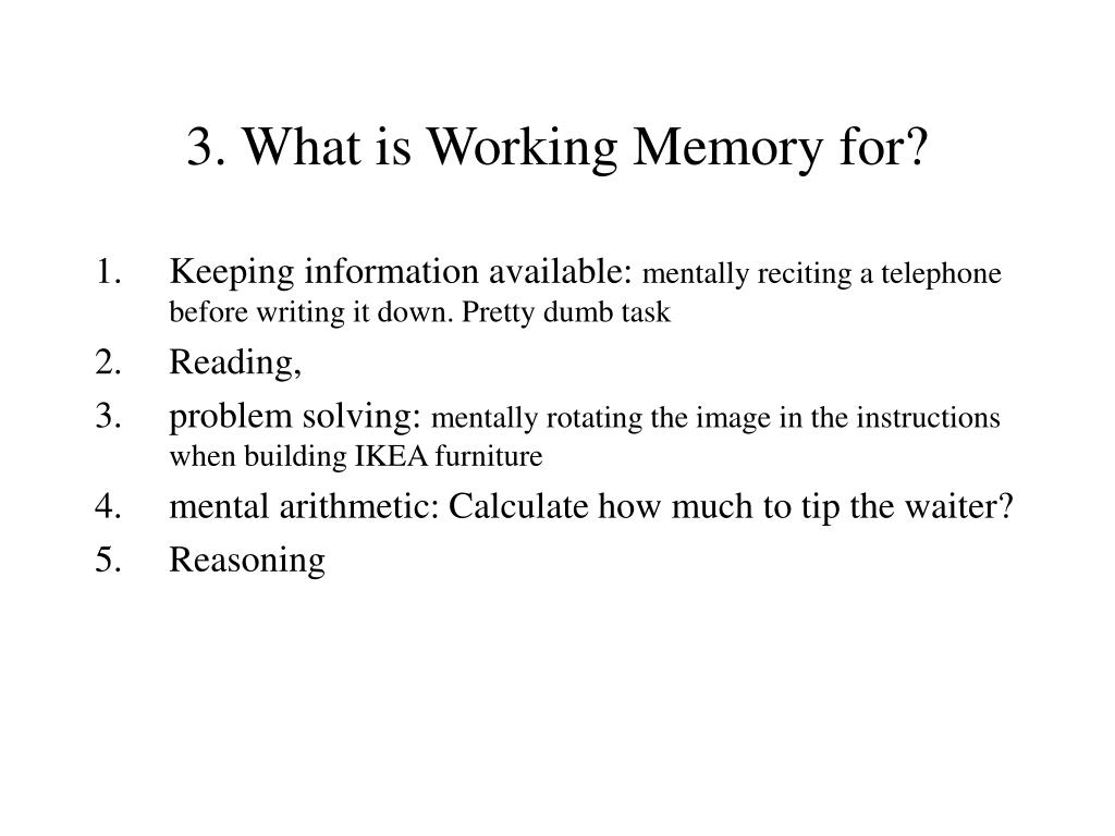 3. What is Working Memory for?