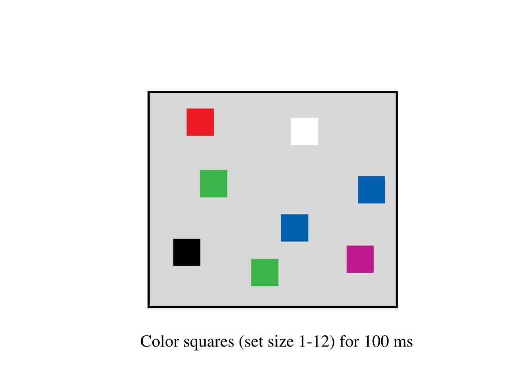 Color squares (set size 1-12) for 100 ms