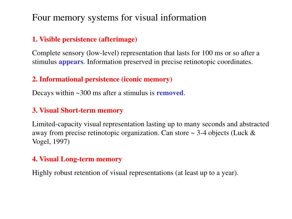 Four memory systems for visual information