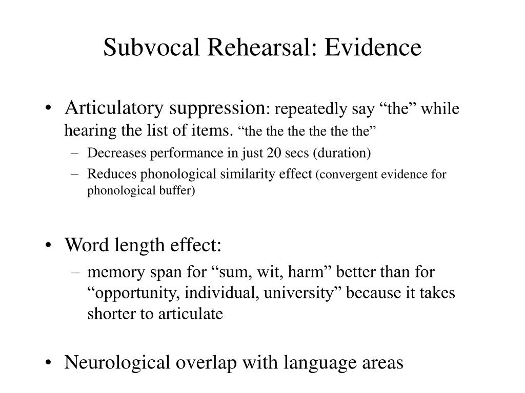 Subvocal Rehearsal: Evidence