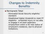 changes to indemnity benefits