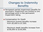 changes to indemnity benefits11