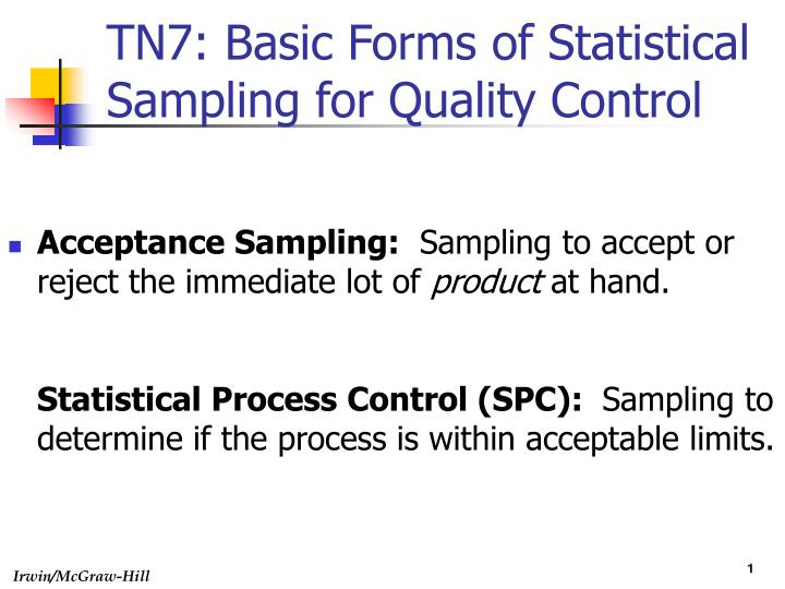 Tn7 basic forms of statistical sampling for quality control