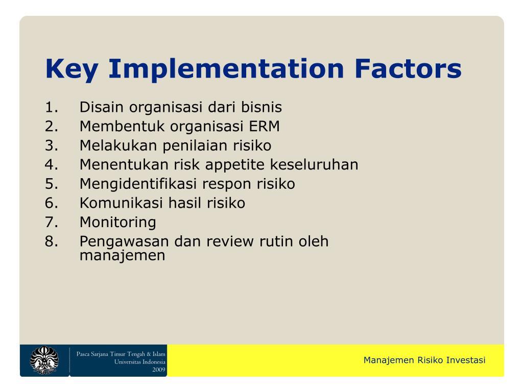 Key Implementation Factors