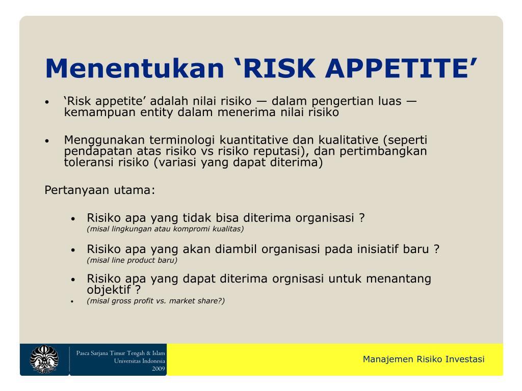 Menentukan 'RISK APPETITE'