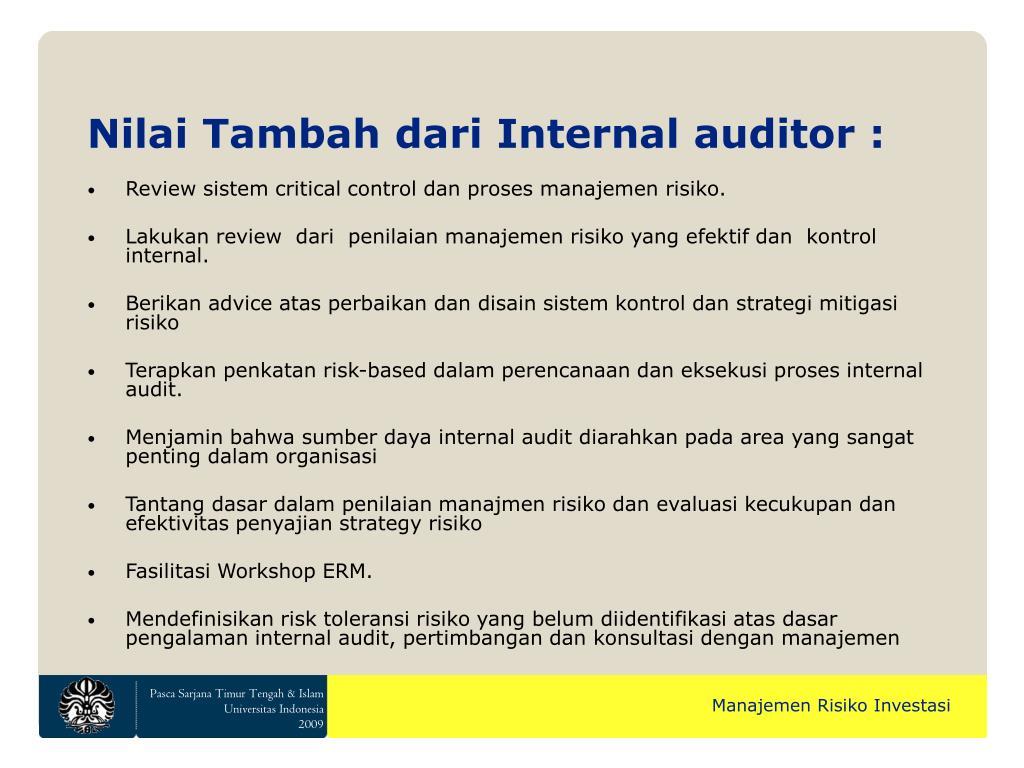 Nilai Tambah dari Internal auditor :