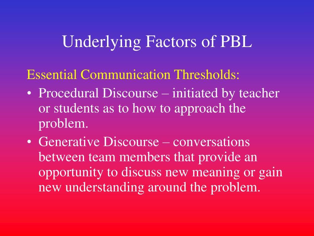 Underlying Factors of PBL