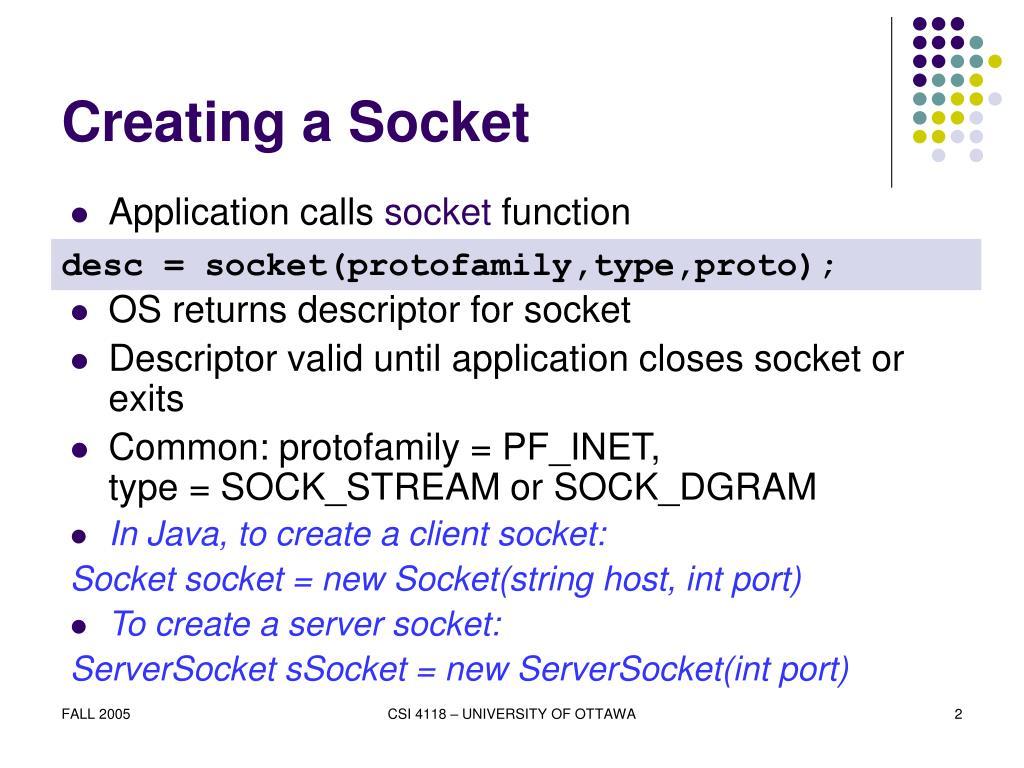 Creating a Socket