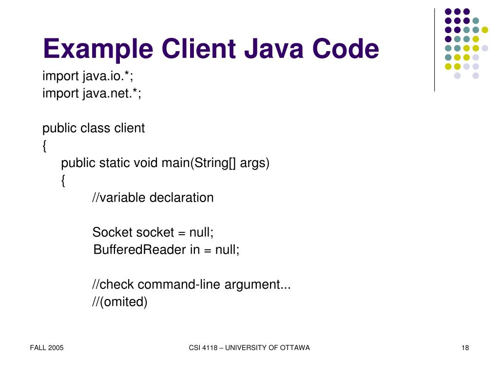 Example Client Java Code