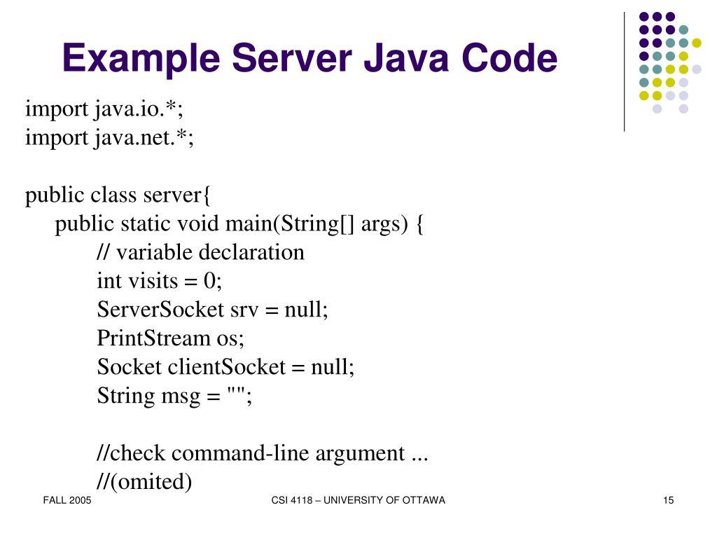 Example Server Java Code