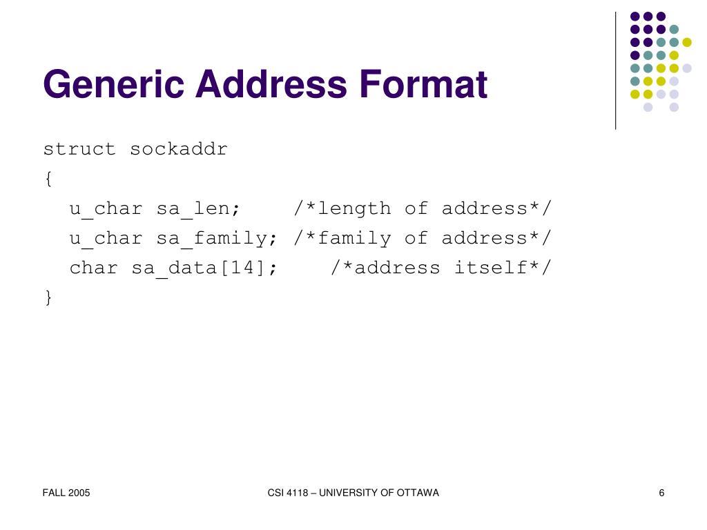 Generic Address Format
