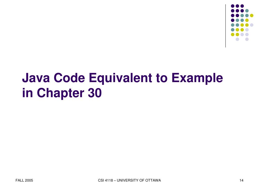 Java Code Equivalent to Example in Chapter 30