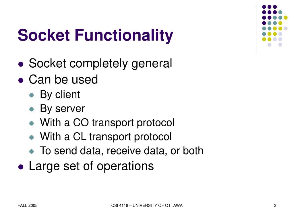 Socket Functionality
