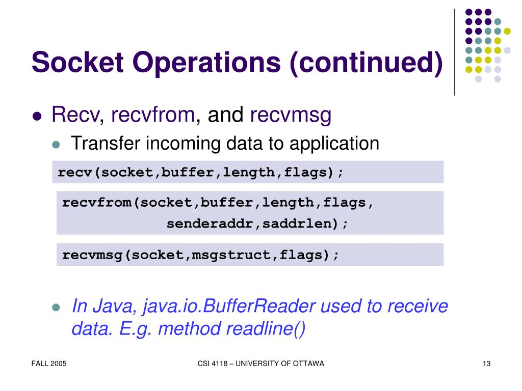 Socket Operations (continued)