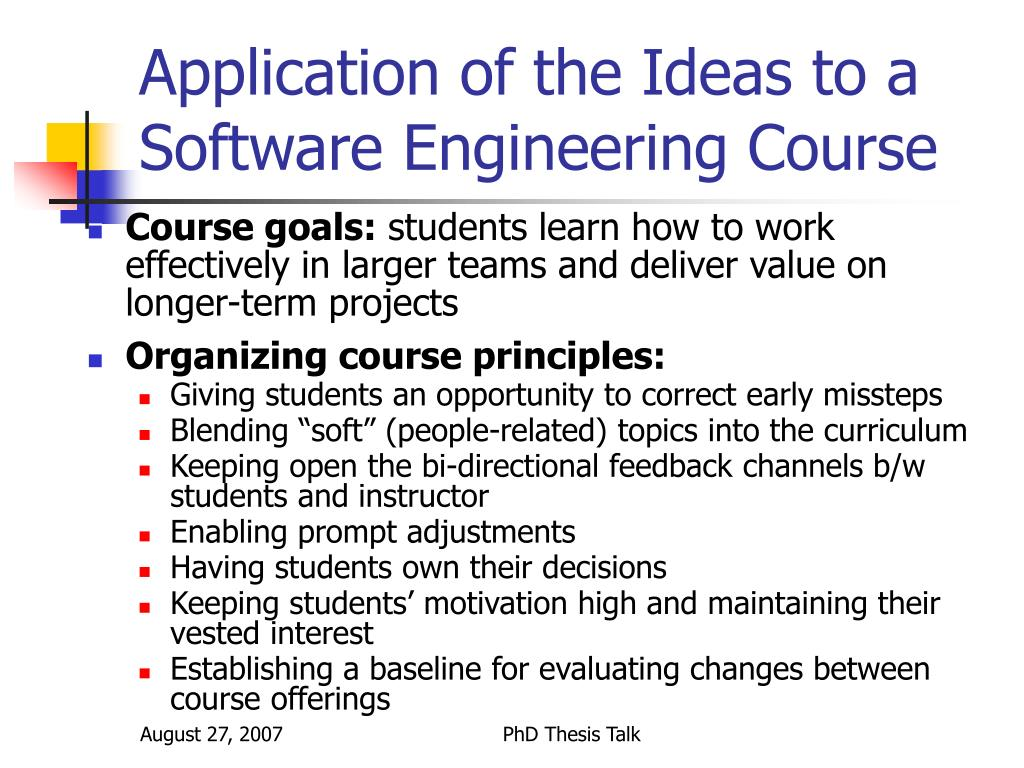 Application of the Ideas to a Software Engineering Course
