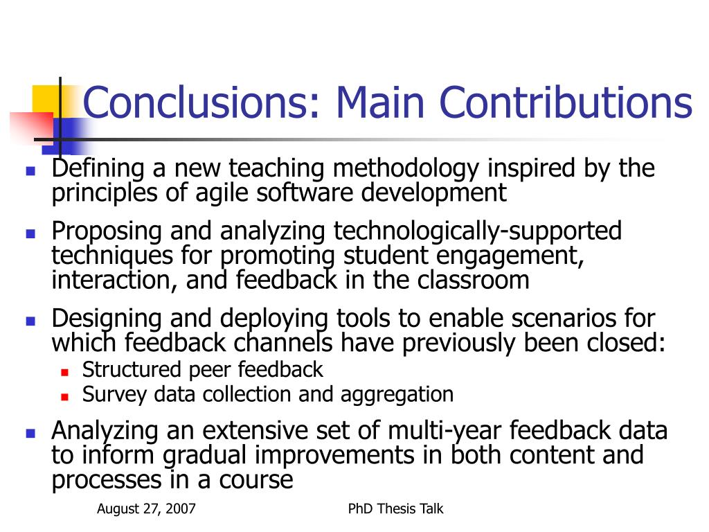 Conclusions: Main Contributions