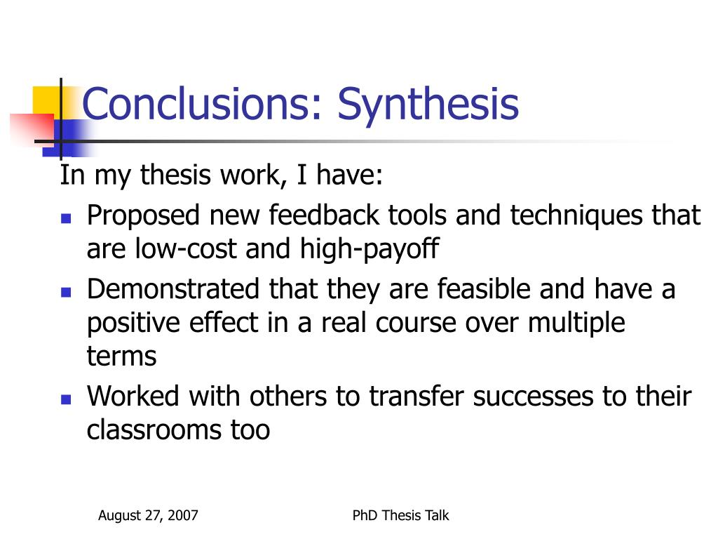 Conclusions: Synthesis