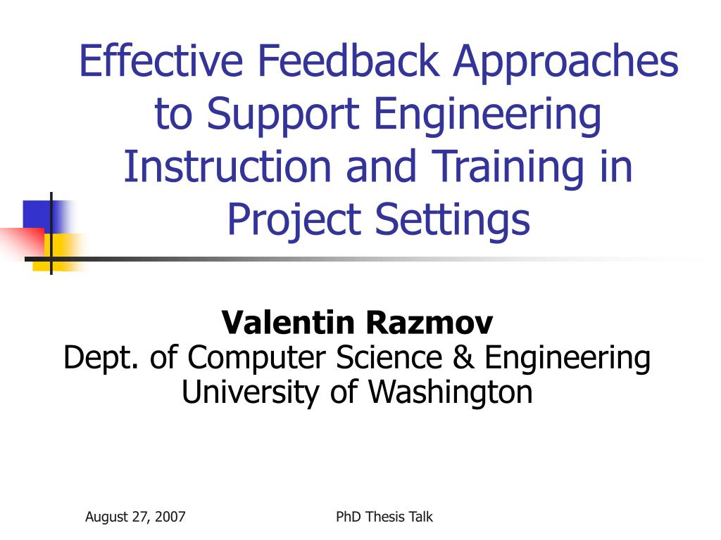 Effective Feedback Approaches to Support Engineering Instruction and Training in Project Settings