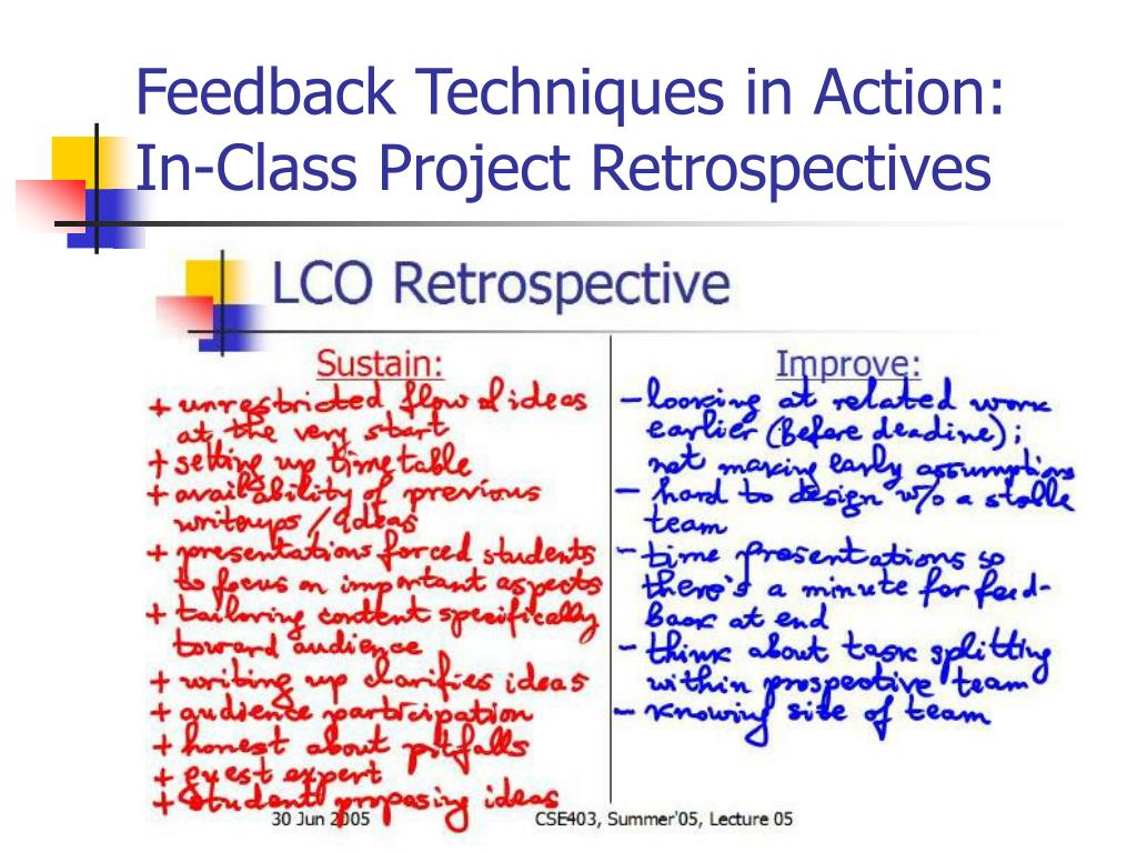 Feedback Techniques in Action: In-Class Project Retrospectives
