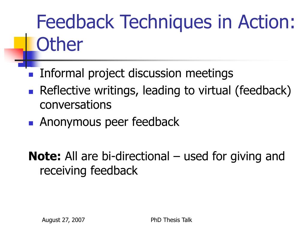 Feedback Techniques in Action: Other