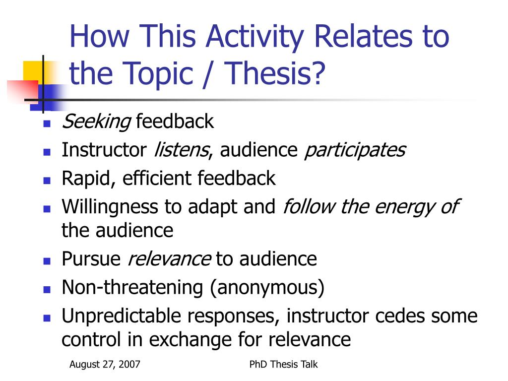 How This Activity Relates to the Topic / Thesis?