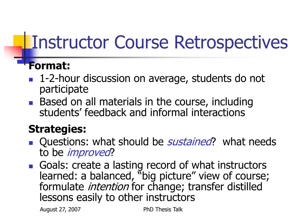 Instructor Course Retrospectives
