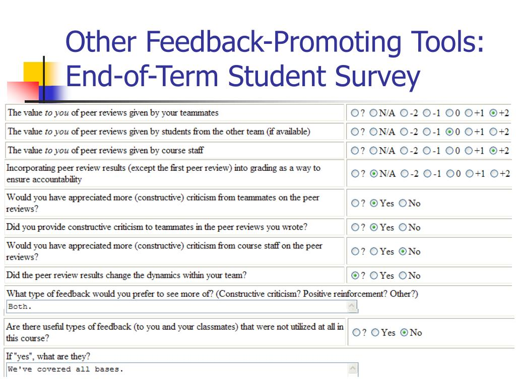 Other Feedback-Promoting Tools: End-of-Term Student Survey