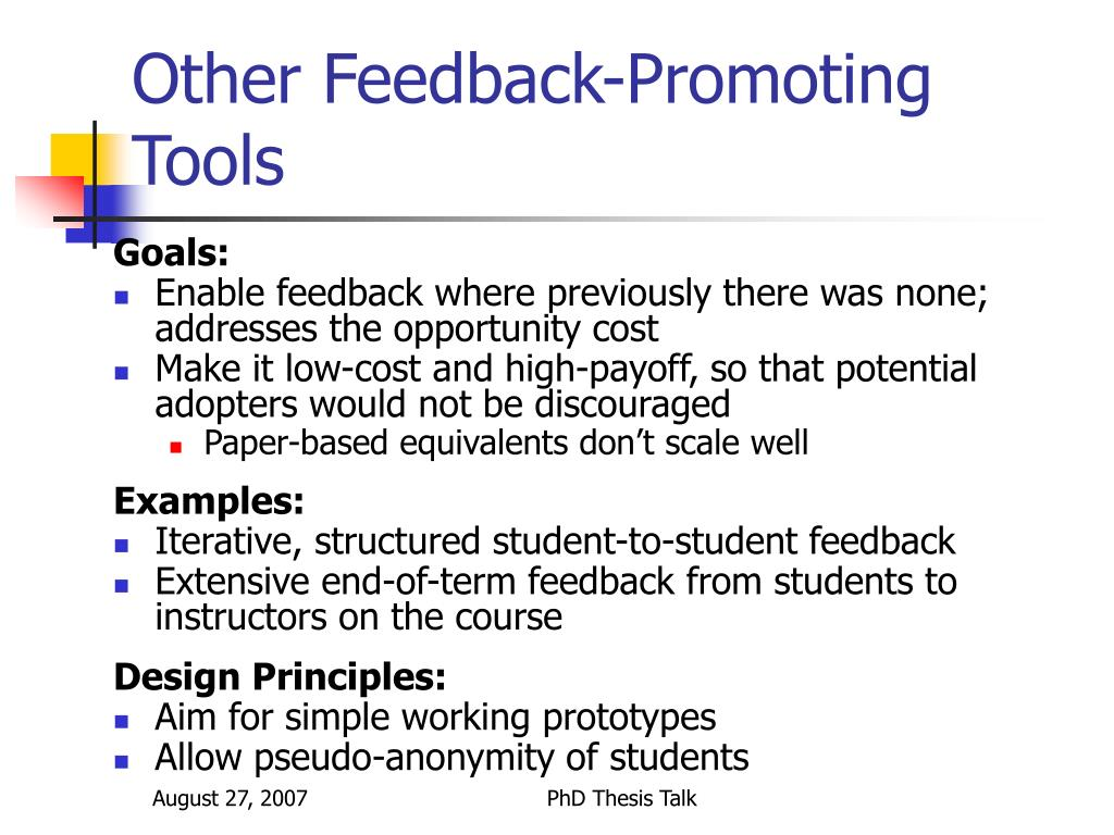 Other Feedback-Promoting Tools