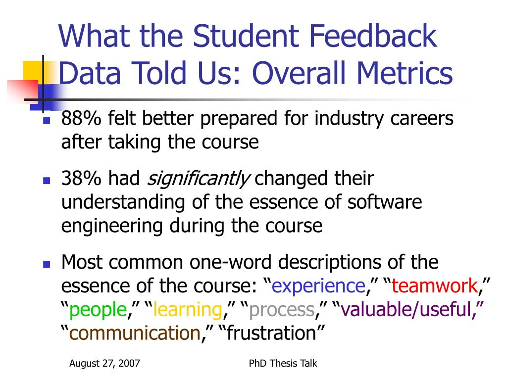 What the Student Feedback Data Told Us: Overall Metrics
