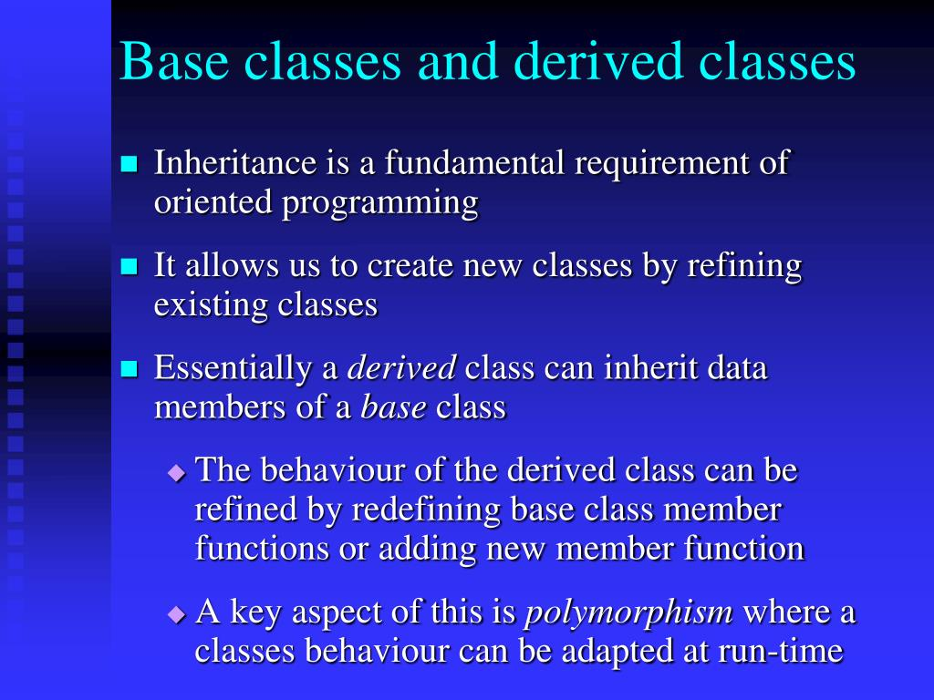 Base classes and derived classes