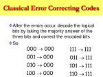 classical error correcting codes7