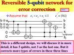 reversible 5 qubit network for error correction