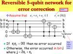 reversible 5 qubit network for error correction15