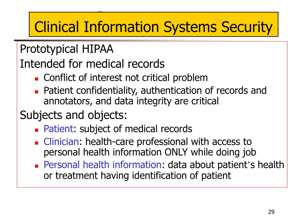 Clinical Information Systems Security