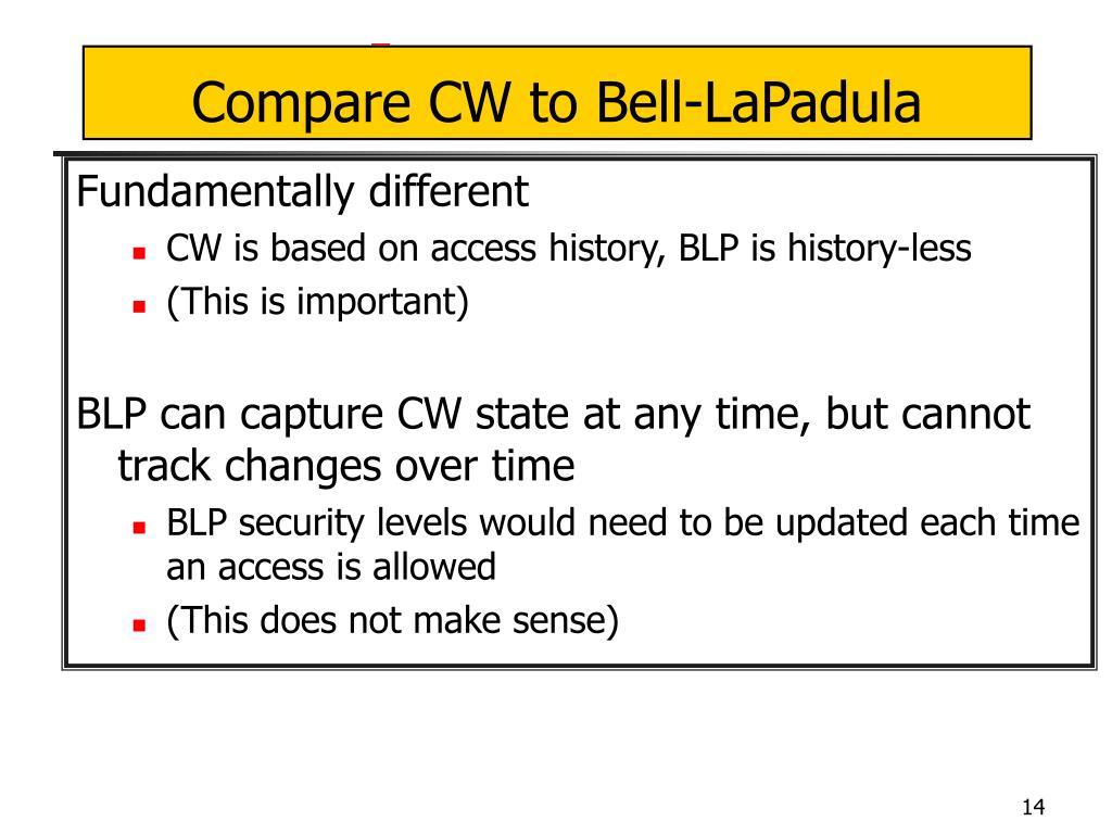 Compare CW to Bell-LaPadula