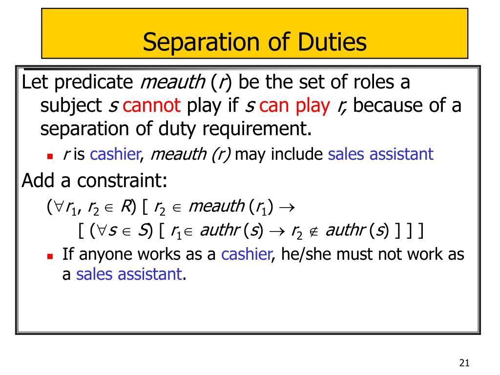 Separation of Duties