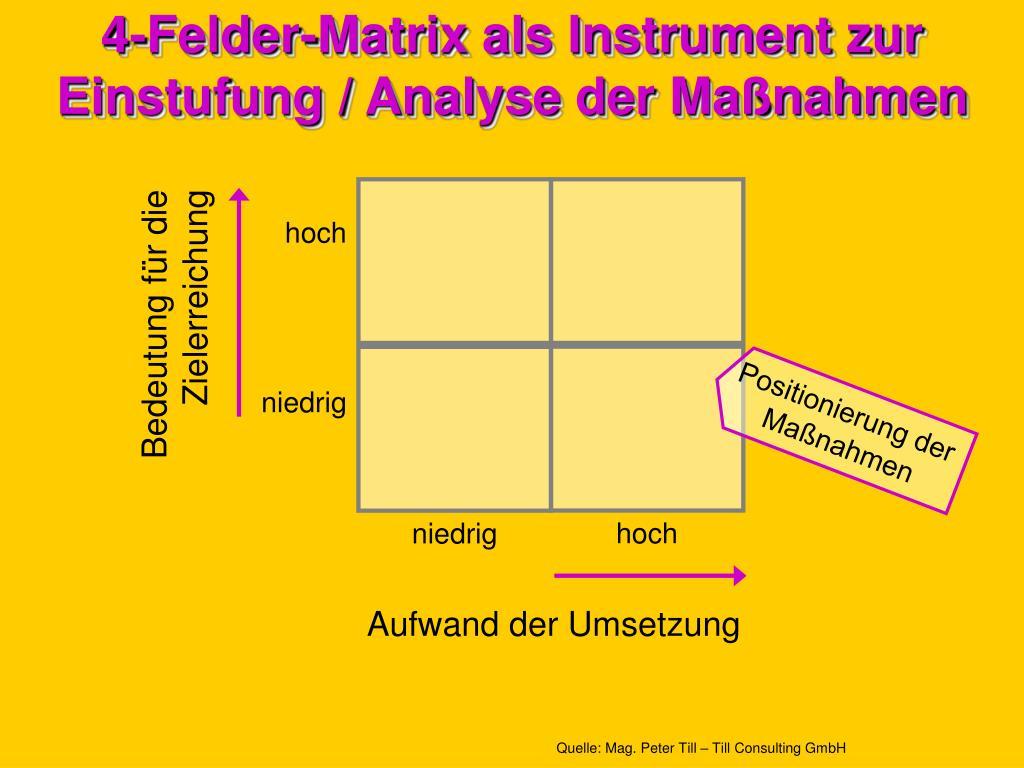 4-Felder-Matrix als Instrument zur Einstufung / Analyse der Maßnahmen