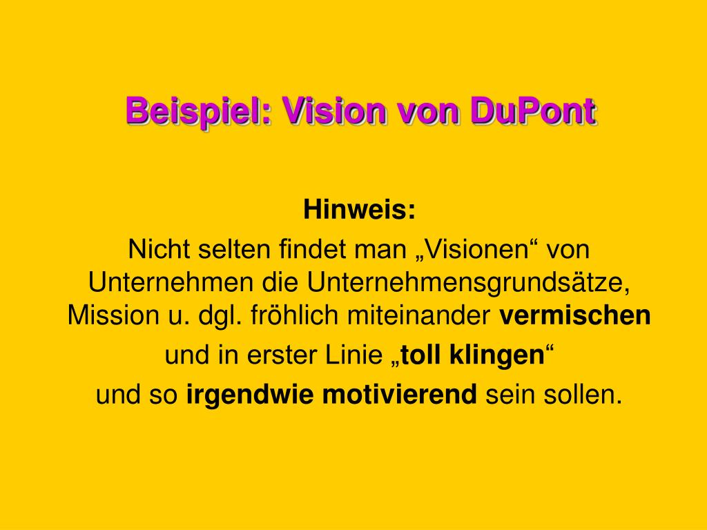 Beispiel: Vision von DuPont