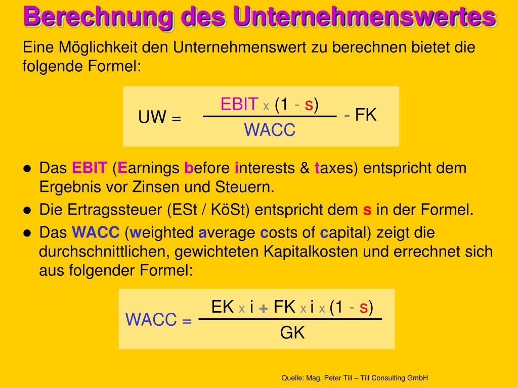 Berechnung des Unternehmenswertes