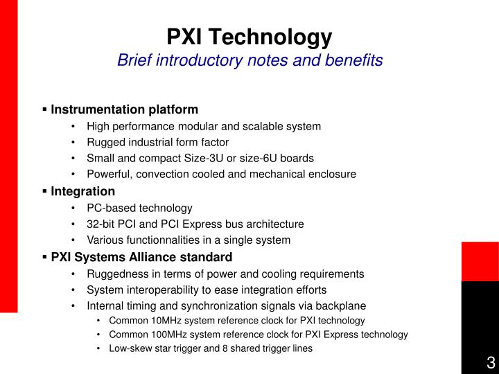 Pxi technology brief introductory notes and benefits